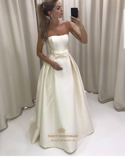 Simple A Line White Strapless Sleeveless Taffeta Prom Dress With Bow
