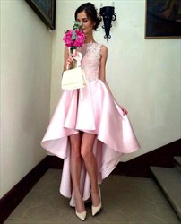 Pink Bateau Sleeveless Taffeta High Low Prom Dress With Appliques