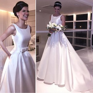 A Line Jewel Neck Sleeveless White Prom Dress With Pockets And Train
