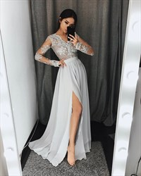 Grey V Neck Long Sleeve Applique Pleated Prom Dress With Split