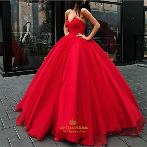 Red Sweetheart Sleeveless Floor Length Ball Gown Organza Prom Dresses