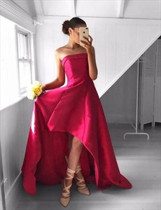 Simple A Line Fuchsia Strapless Sleeveless Satin High Low Prom Dress