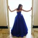 Elegant A Line Royal Blue Strapless Sleeveless Satin Prom Dress