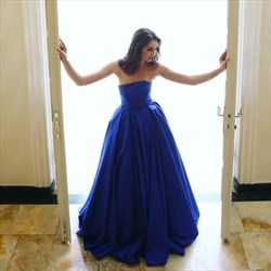 Elegant A Line Royal Blue Strapless Sleeveless Satin Prom Dress