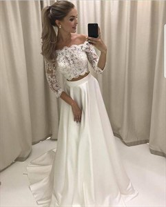 White Off The Shoulder Two Piece Satin Prom Dress With 3/4 Sleeve