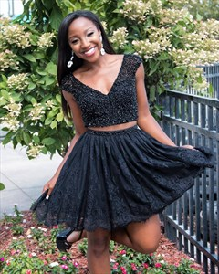 Black A Line V Neck Beaded Bodice Two Piece Short Homecoming Dress