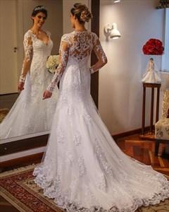A Line V Neck Long Sleeve Floor Length Tulle Wedding Dress With Train