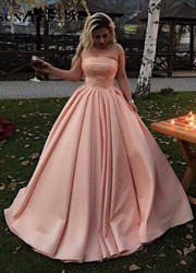 Pink Strapless Sleeveless Ruched Waist Satin Ball Gown Prom Dress