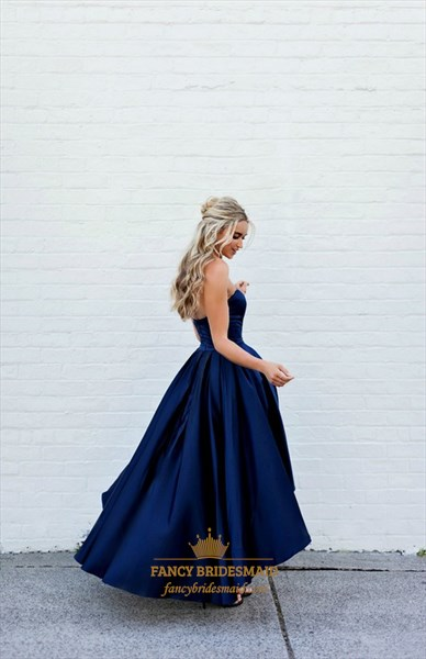 Simple Navy Blue Strapless Sweetheart A-Line High Low Bridesmaid Dress