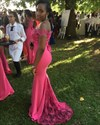 Hot Pink Off Shoulder Lace Embellished Chiffon Long Bridesmaid Dress