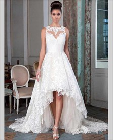 Elegant Lace Overlay Sweetheart High Low Wedding Dress