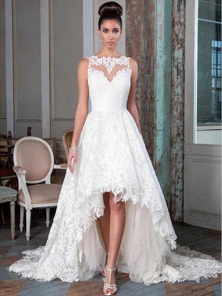 Elegant Lace Overlay Sweetheart High Low Wedding Dress