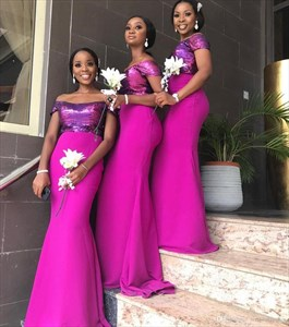 Long Fuchsia Black Girl Mermaid Off The Shoulder Bridesmaid Dress