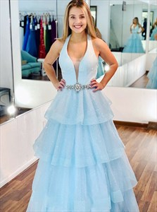 Blue V-Neck Layered Organza Sequin Prom Dress With Beading