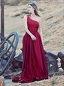 Burgundy Satin One Shoulder Long Prom Dress With Thigh Split