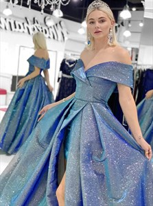 Blue Sequin Off The Shoulder Long Prom Dress With Side Split