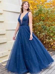 Navy Blue Beaded V-Neck Sleeveless Pleated Tulle Long Prom Dress
