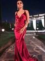 Burgundy V-Neck Pleated Mermaid Open Back Long Prom Dress