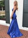 Royal Blue Mermaid V Neck Spaghetti Strap Long Prom Dress