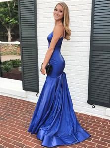 Royal Blue Mermaid V Neck Spaghetti Strap Long Prom Dress