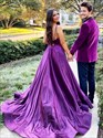 Purple V Neck Spaghetti Strap Long Backless Prom Dress With Split