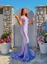 Lavender Mermaid Off The Shoulder Embellished Long Prom Dress