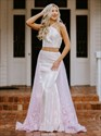 Two Piece Pink Long Satin Backless Prom Dress With Lace Embellished