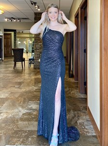 One Shoulder Sequin Pleated Navy Blue Prom Dress With Thigh High Slits