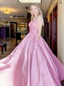 Pink V-Neck Beaded Lace Applique Satin Prom Dress With Side Cutouts