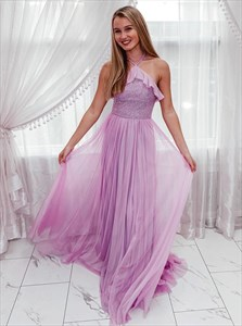 Halter Ruffle Chiffon Pink Long Prom Dress With Sequin Bodice