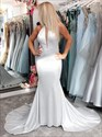 Silver High Neck Mermaid Keyhole Front Prom Dress With Train