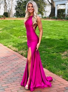 High Neck Halter Hot Pink Split Front Long Backless Prom Dress