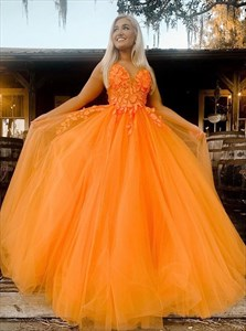 Orange Lace Appliques Spaghetti Strap Long Tulle Prom Dress