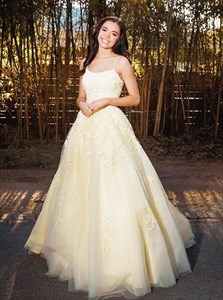 Yellow Lace Applique Long Prom Dress With Criss-Cross Straps