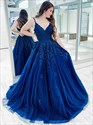 Royal Blue Beaded Lace Applique V-Neck Spaghetti Straps Prom Dress