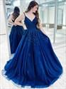Royal Blue Beaded Lace Applique V-Neck Spaghetti Straps Prom Dress