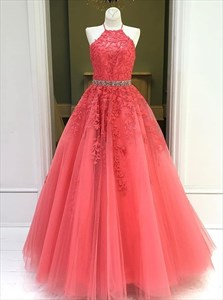 Coral Lace Applique Tulle Long Prom Dress With Beaded Waist