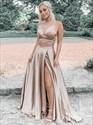 Champagne Two Piece Split Front  V-Neck Long Prom Dress