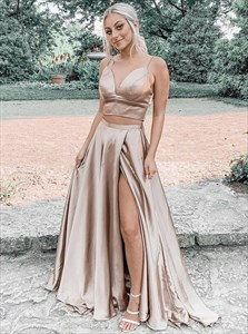 Champagne Two Piece Split Front  V-Neck Long Prom Dress