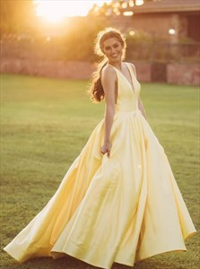 Yellow A-Line V-Neck Sleeveless Long Prom Dress With Side Cutouts