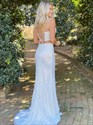 White Two Piece V Neck Lace Applique Sequin Long Prom Dress