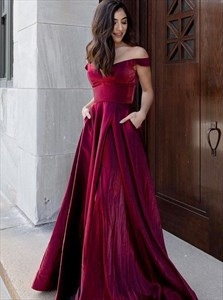 Burgundy Off The Shoulder A-Line Long Prom Dress With Pocket