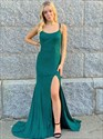 Green Mermaid Sequin Split Front Prom Dress With Open Back