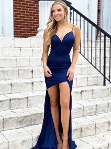 Blue V-Neck Spaghetti Strap Satin High Low Prom Dresses