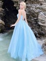 Blue Organza Long Prom Dress With Criss-Cross Straps