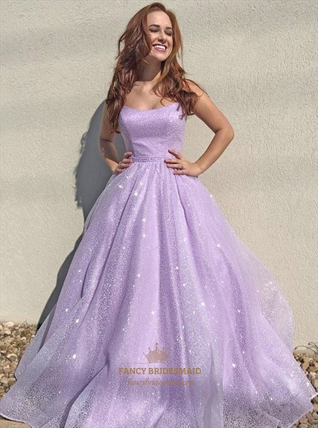 Lavender Strapless Sequin Long Prom Dress With Beading