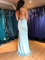 Mermaid Spaghetti Straps Light Blue V-Neck Prom Dress With Split