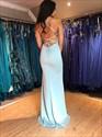 Mermaid Spaghetti Straps Light Blue V-Neck Prom Dress With Split