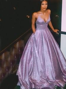 Purple V-Neck Spaghetti Strap Prom Evening Dress With Pockets