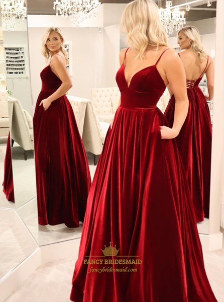 Burgundy A-Line Spaghetti Straps Long Prom Dress With Open Back